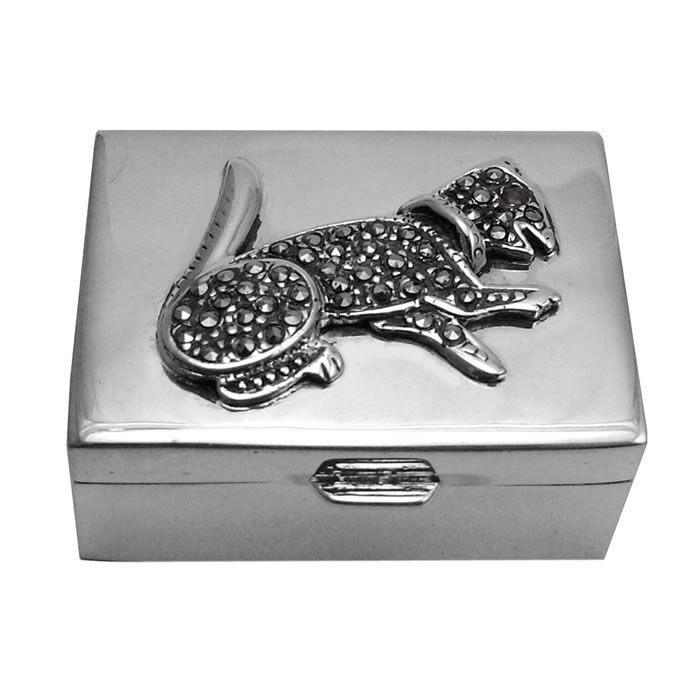 Sterling Silver Marcasite Cat Pill Box