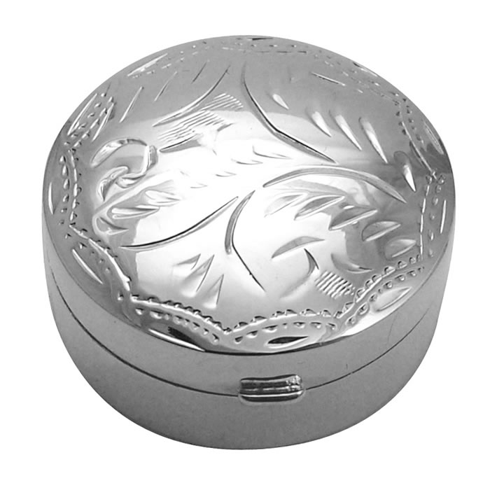 Sterling Silver Circular Engraved Pill Box