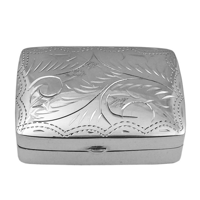Sterling Silver Rectangular Engraved Pill Box