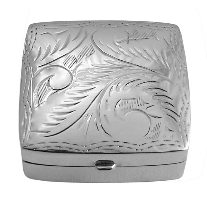 Sterling Silver Square Engraved Pill Box