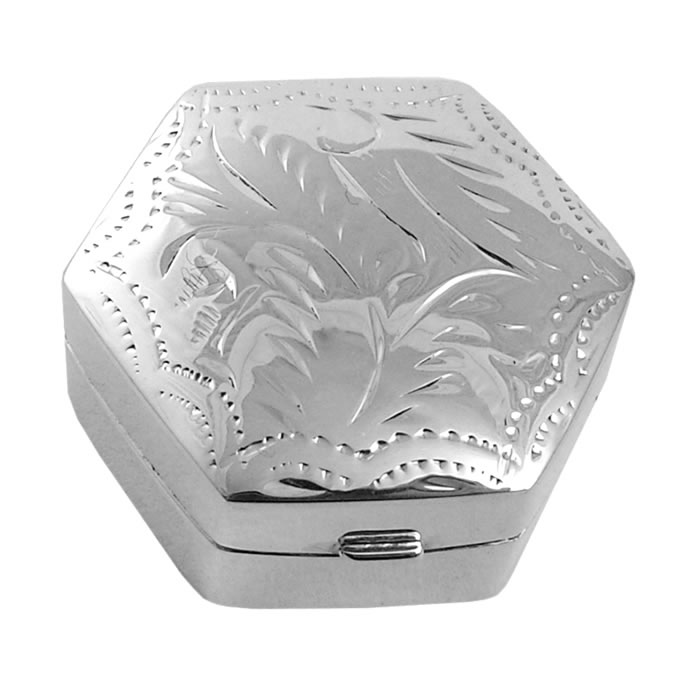 Sterling Silver Hexagon Shaped Engraved Pill Box