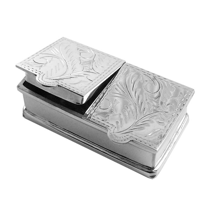 Sterling Silver 2 Piece Rectangle Engraved Pattern Pill Box