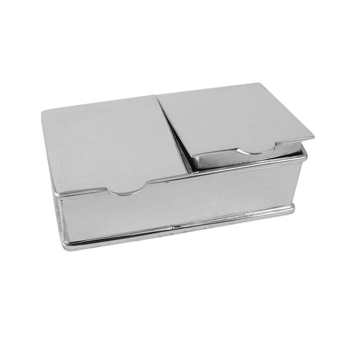 Sterling Silver 2 Piece Rectangle Plain Pill Box