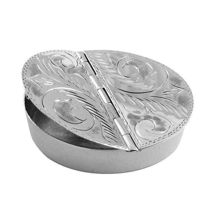 Sterling Silver 2 Piece Round Engraved Pill Box