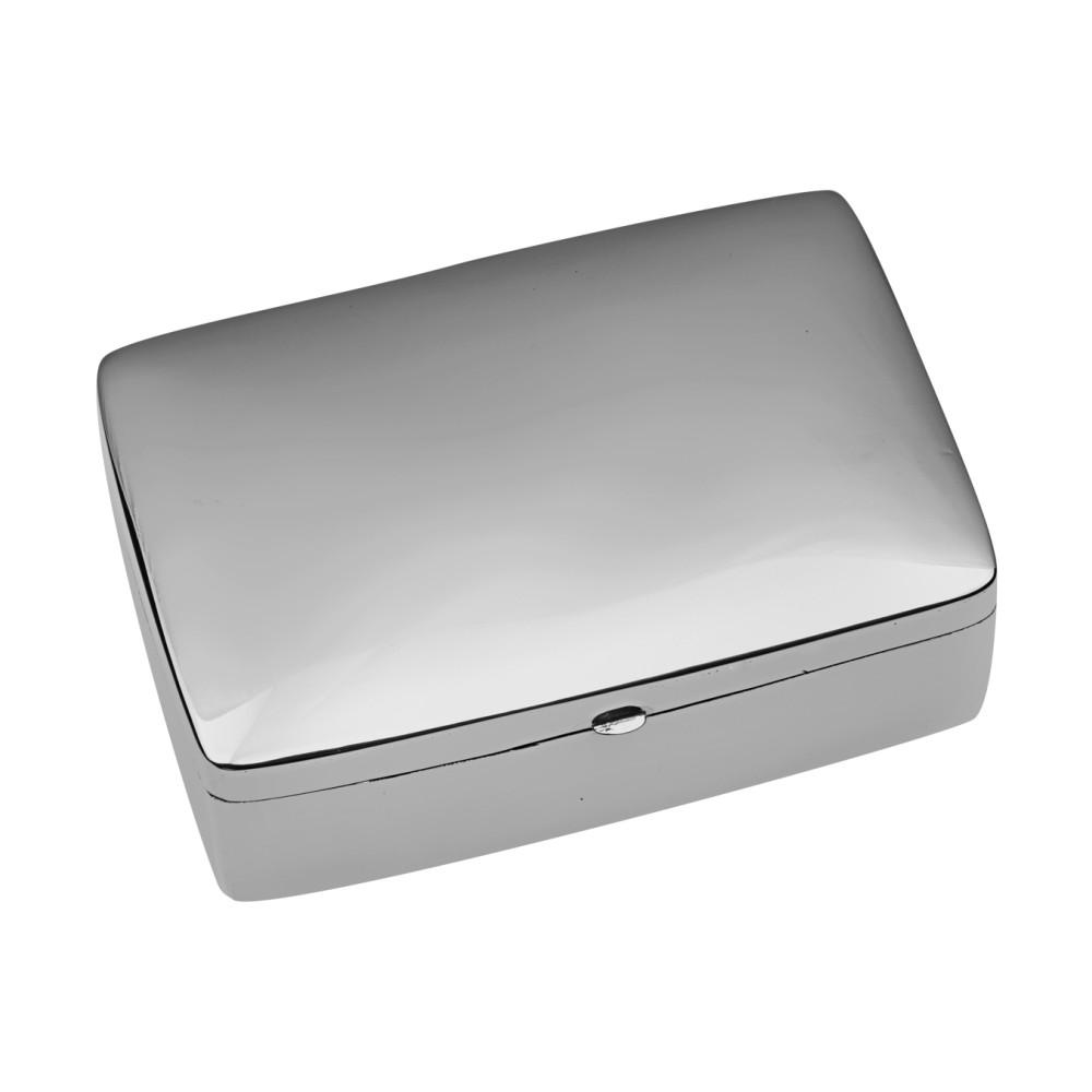 Sterling Silver Large Rectangular Plain Pill Box