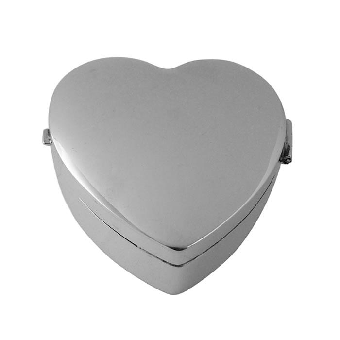 Sterling Silver Large Heart Plain Pill Box