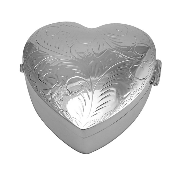 Sterling Silver Large Heart Engraved Pill Box