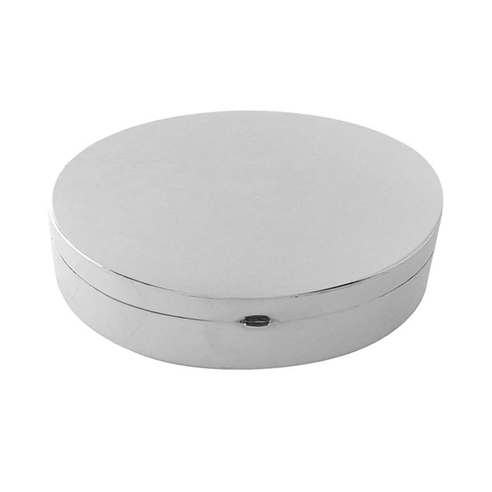 Sterling Silver Large Oval Plain Pill Box