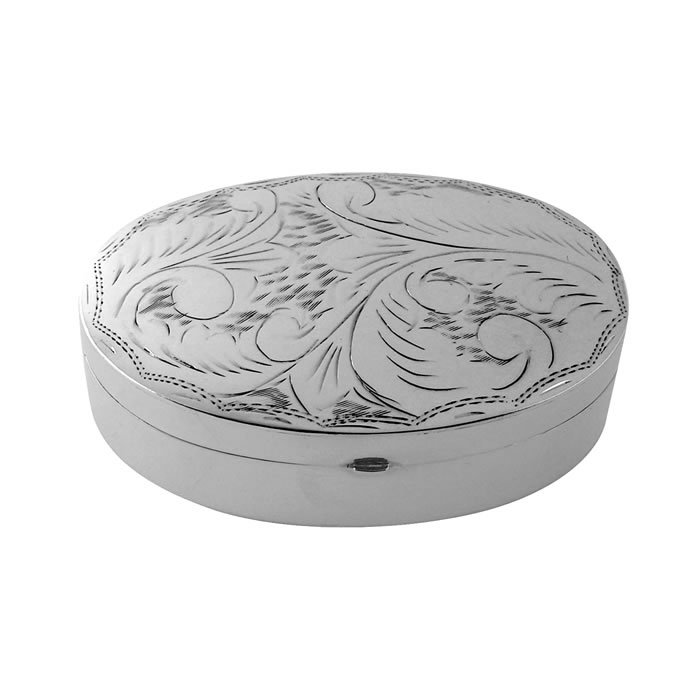 Sterling Silver Large Oval Engraved Pill Box