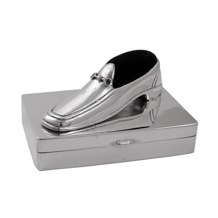 Sterling Silver Box With Laced Shoe Pin Cushion