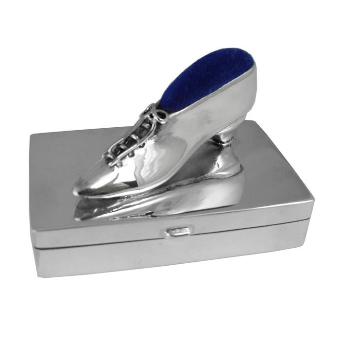 Sterling Silver Box With Shoe Pin Cushion