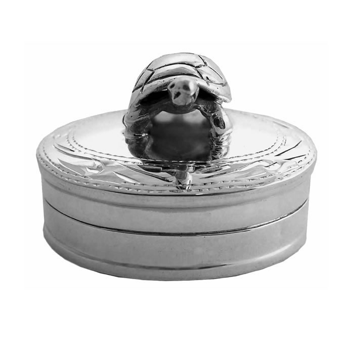 Sterling Silver Engraved Tortoise Keepsake Box