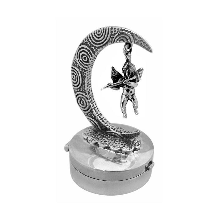 Sterling Silver Moon And Cherub Keepsake Box