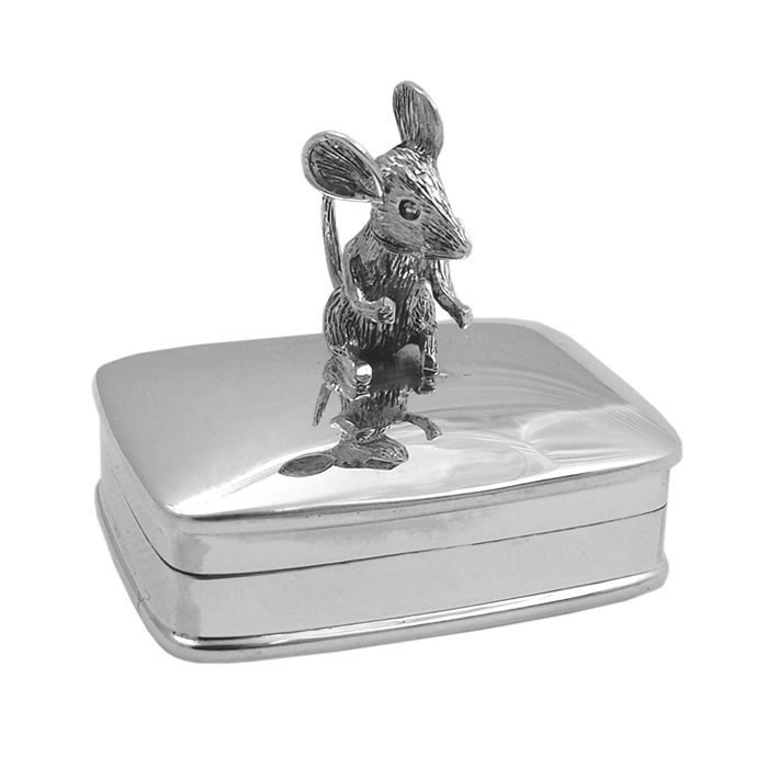 Sterling Silver Plain Mouse Keepsake Box