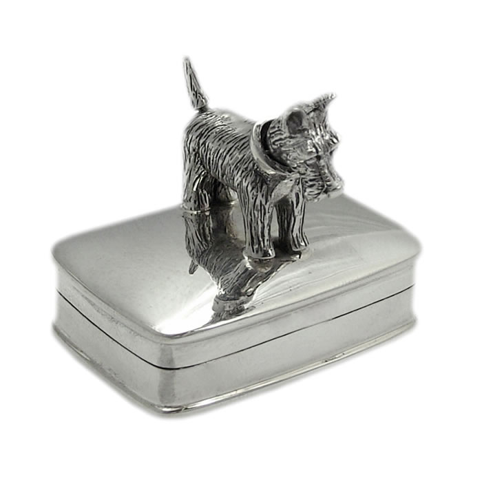 Sterling Silver Moveable Scottie Dog Keepsake Box