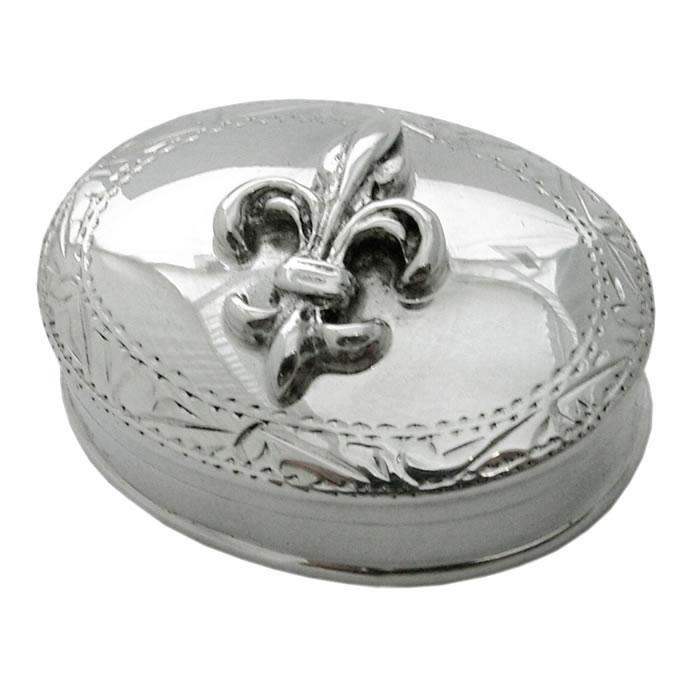 Sterling Silver Fleur De Lys Pill Box