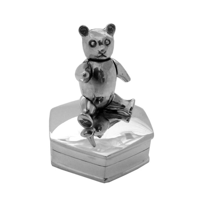 Sterling Silver Hexagonal Teddy Bear Pill Box