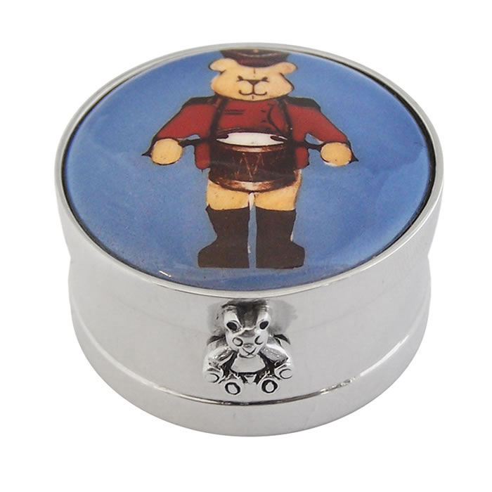 Sterling Silver Teddy Bear Drummer Picture Pill Box