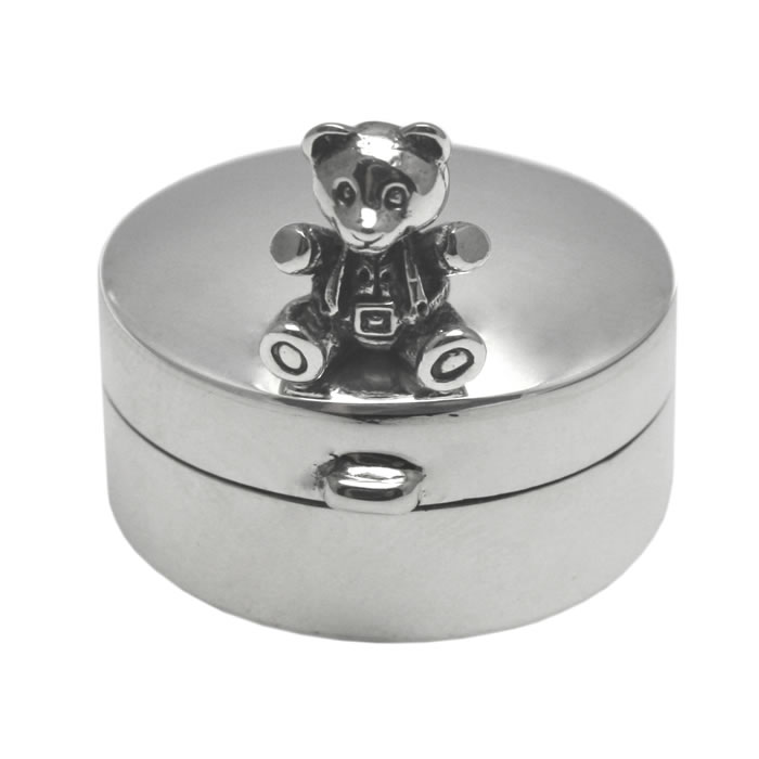 Sterling Silver Small Teddy Bear Keepsake Box