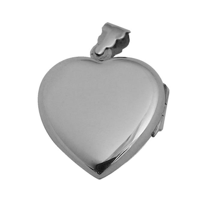 Sterling Silver Plain Heart Shaped Locket Pendant