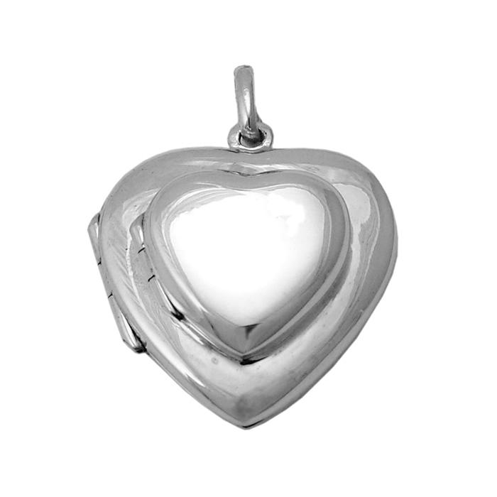Sterling Silver Double Heart Shaped Locket Pendant