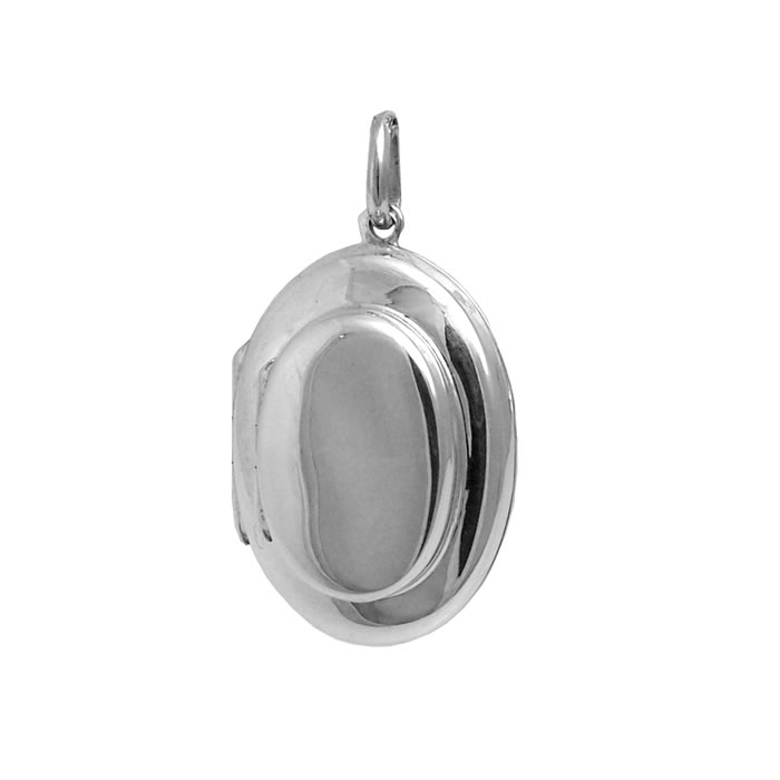 Sterling Silver Simple Style Oval Shaped Locket Pendant