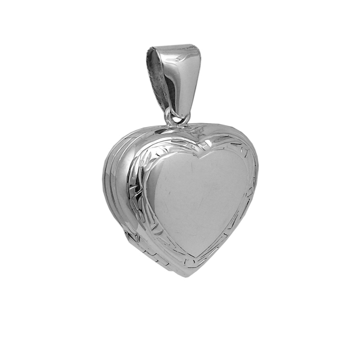 Sterling Silver Heart Shaped Locket Style Pendant