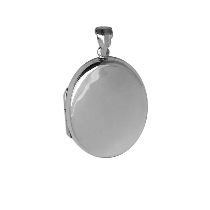 Sterling Silver Plain Oval Shaped Locket Style Pendant