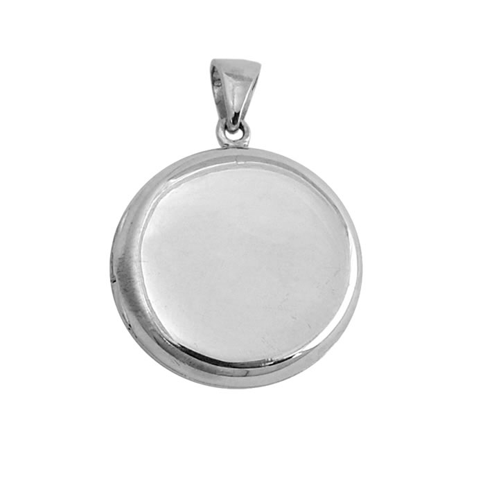 Sterling Silver Plain Round Locket Style Pendant
