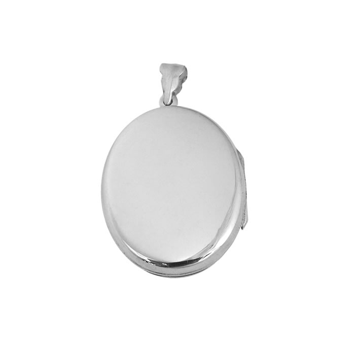 Sterling Silver Simple Oval Shaped Locket Pendant