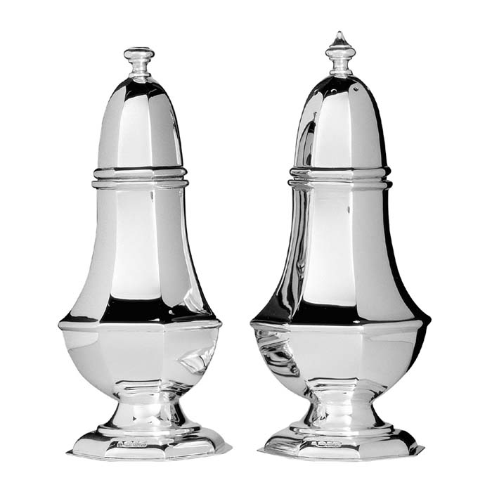 Sterling Silver Georgian Salt And Pepper Set
