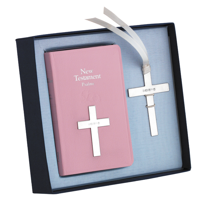 Sterling Silver Bookmark And New Testament In Pink
