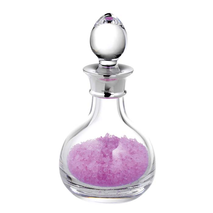 Sterling Silver 25c Plain Rounded Crystal Bath Bottle