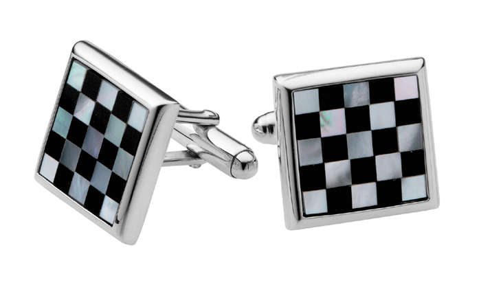 Sterling Silver Chess Board Mother Of Pearl And Onyx Cufflinks
