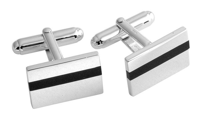 Sterling Silver Rectangle Onyx Stripe Cufflinks