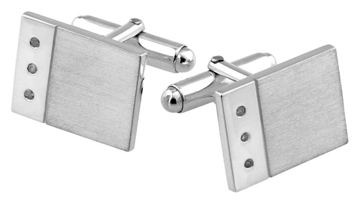Sterling Silver Diamond 3 Stone Rectangular Cufflinks