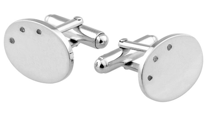 Sterling Silver Diamond 3 Stone Oval Cufflinks