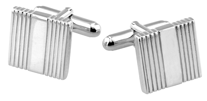 Sterling Silver Square Linear Cufflinks