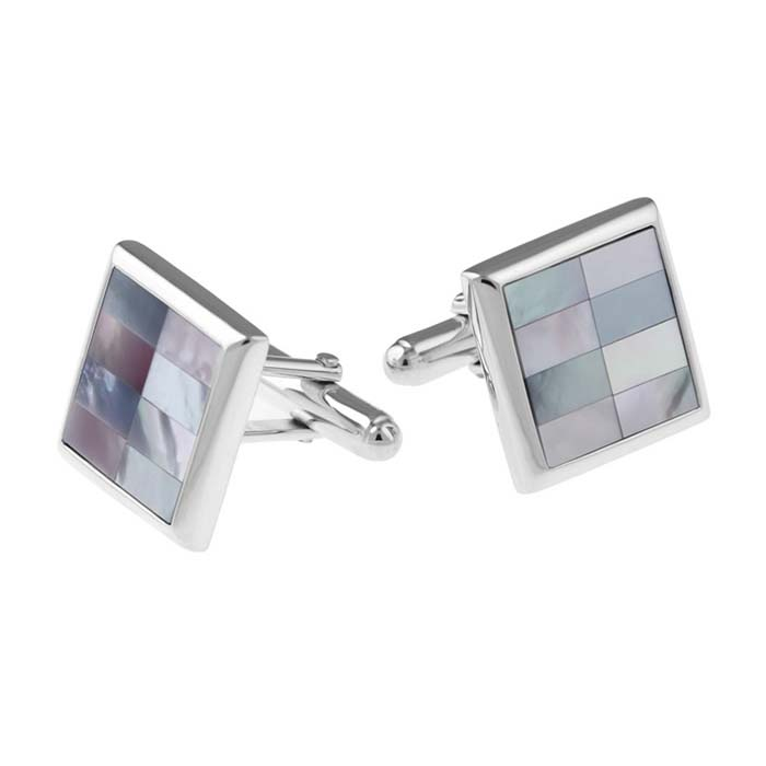 Sterling Silver Square Mother Of Pearl And Abalone Shell Post Cufflinks