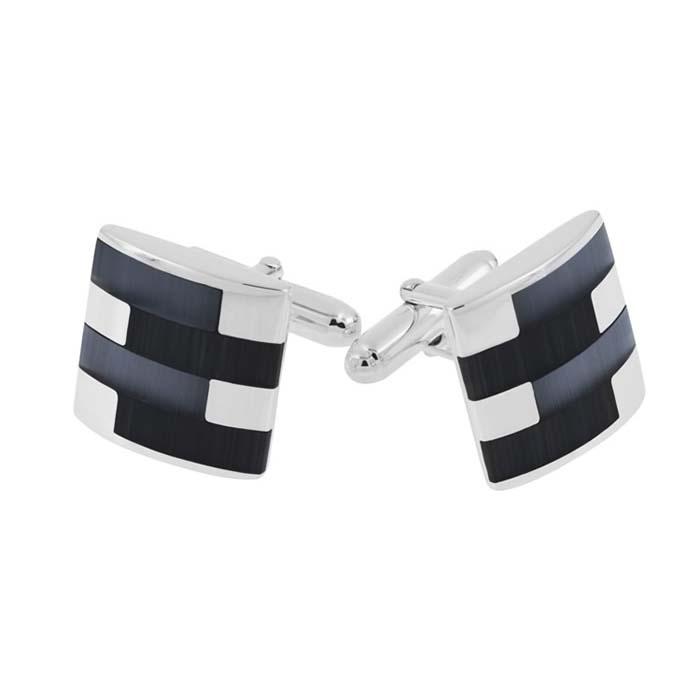 Sterling Silver Square Black Cats Eye Post Cufflinks