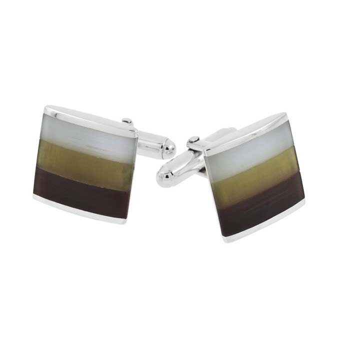 Sterling Silver Square Cats Eye Post Style Cufflinks