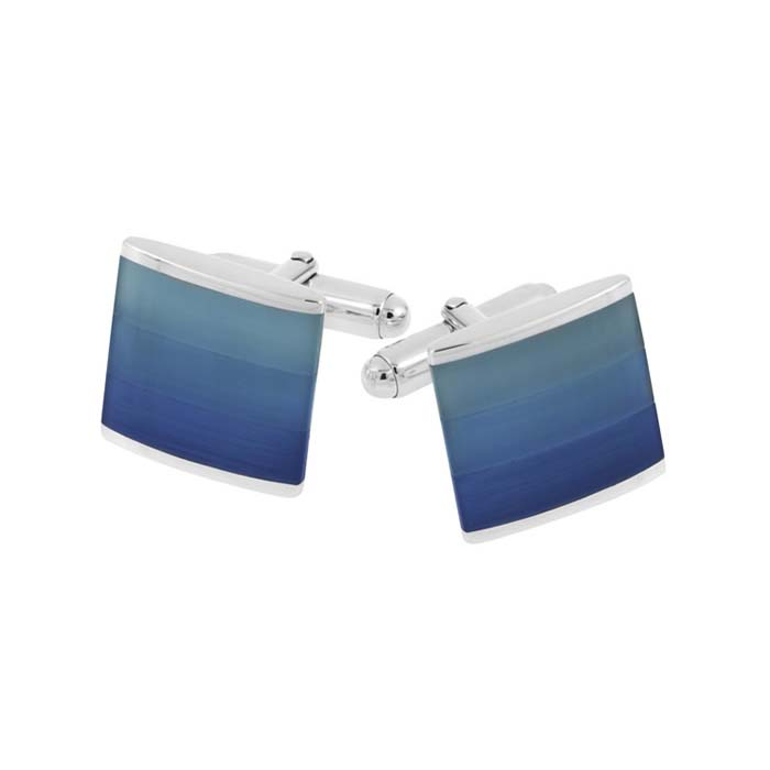 Sterling Silver Square Blue Shaded Cats Eye Post Cufflinks