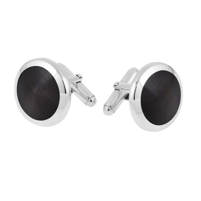 Sterling Silver Round Cats Eye Post Cufflinks