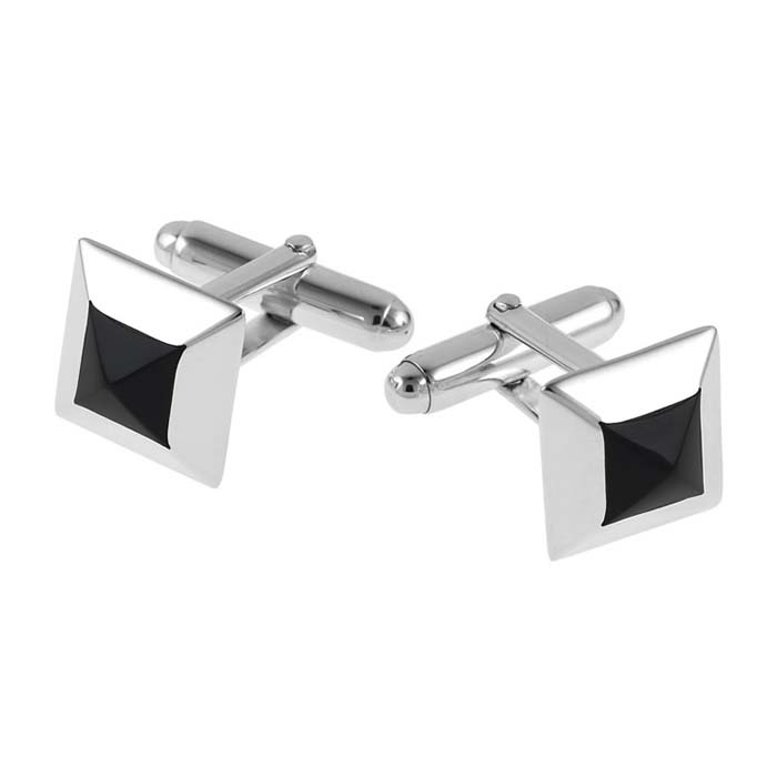 Sterling Silver Pyramid Onyx Post Cufflinks