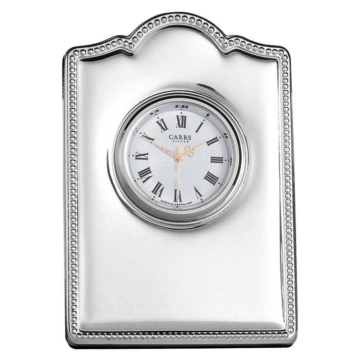 Sterling Silver Bead Border Mini Clock With Velvet Back
