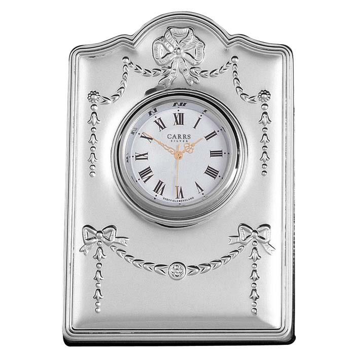 Sterling Silver Ribbon Detailed Mini Clock With Velvet Back