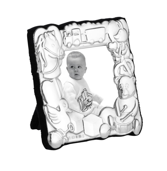 Sterling Silver Baby's 5X5 cm Photo Frame With Velvet Back