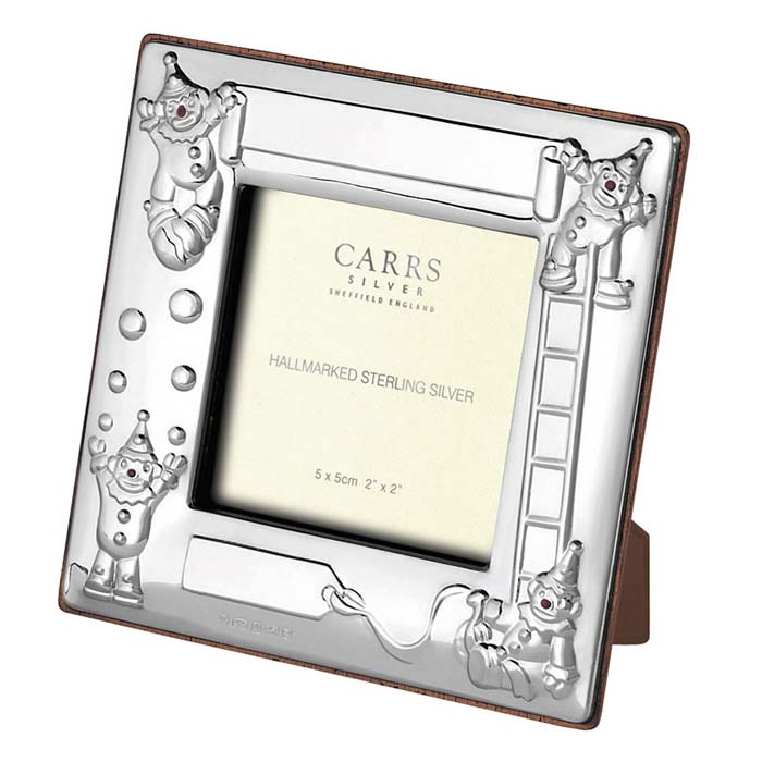 Sterling Silver Child's Clown Square Photo Frame 5X5 cm Maple Finish