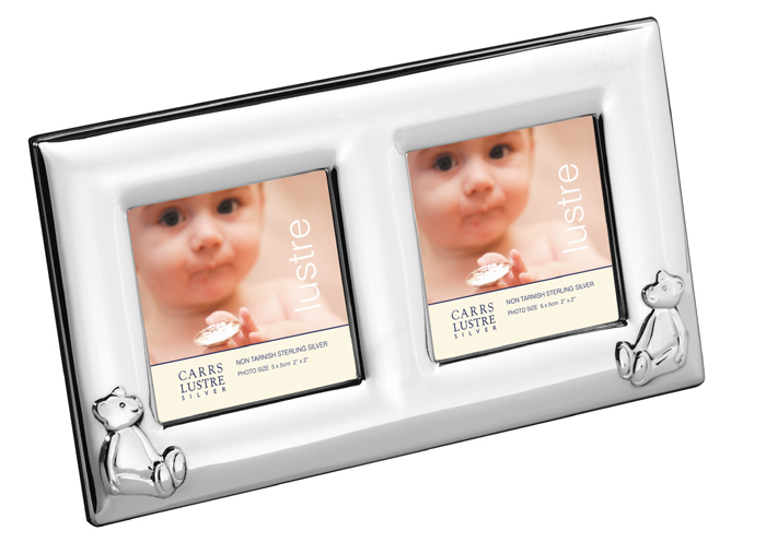 Sterling Silver Two Photo Babys Bear Photo Frame 5x5 Cm With Mahogany Back