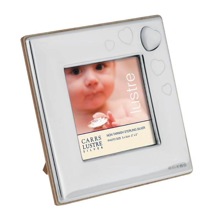 Sterling Silver Baby's Mother Of Pearl Heart 5X5 cm Photo Frame With Wood Back